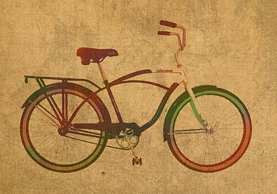 Vintage Schwinn Bicycle Watercolor On Worn Distressed Canvas Series No 002 Poster