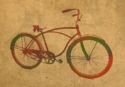Vintage Schwinn Bicycle Watercolor On Worn Distressed Canvas Series No 003 Poster