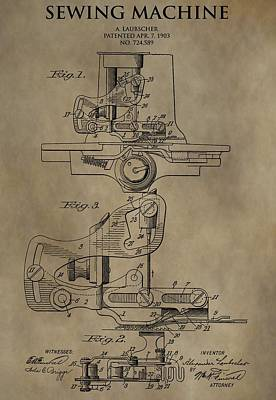 Vintage Sewing Machine Patent Poster by Dan Sproul