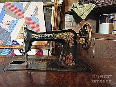 Vintage Sewing Machine Poster by Patricia Januszkiewicz