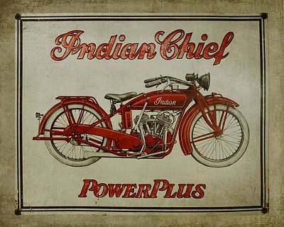 Vintage Sign Indian Chief Poster
