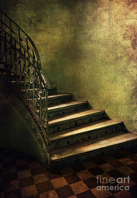 Vintage Staircase With Tiles And Ornamented Handrail Poster by Jaroslaw Blaminsky