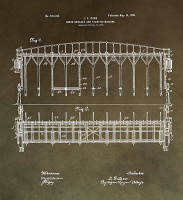 Vintage Starting Gate Patent Poster by Dan Sproul