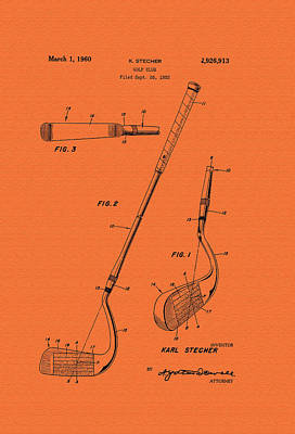 Vintage Stecher Gold Club Patent - 1960 Poster by Mountain Dreams