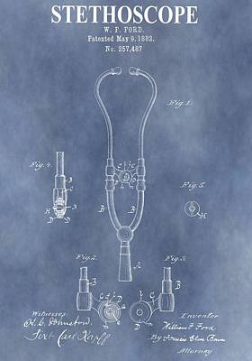 Vintage Stethoscope Patent Poster by Dan Sproul