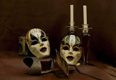 Poster featuring the photograph Vintage Still Life Of Venitian Mask by Debra Crank