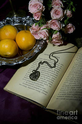 Vintage Still Life With Roses Books And Tangerines Poster