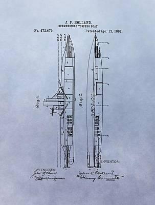 Vintage Submarine Boat Patent Poster