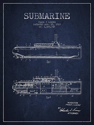 Vintage Submarine Patent From 1919 Poster by Aged Pixel