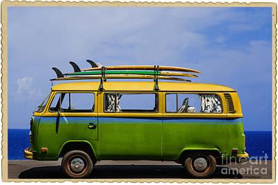 Vintage Surf Van Poster by Diane Diederich