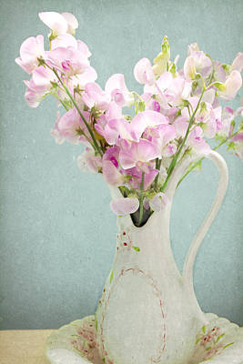 Poster featuring the photograph Vintage Sweet Peas In A Pitcher by Peggy Collins