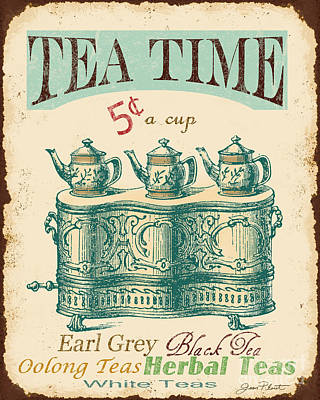 Vintage Tea Time Sign Poster by Jean Plout