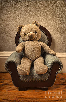Vintage Teddy Bear In A Chair Poster