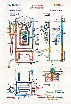 Vintage Telephone Radio Art - Radio Construction - By Sharon Cummings Poster