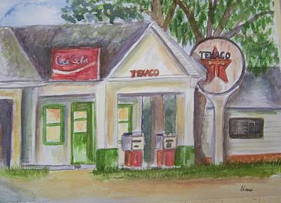 Vintage Texaco Gas Station Poster