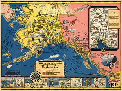 Vintage Tourist Map Of Alaska By The Alaska Steamship Co. - 1934 Poster by Blue Monocle