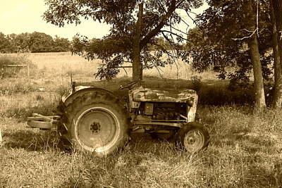 Poster featuring the photograph Vintage Tractor In Sepia by Cynthia Lassiter