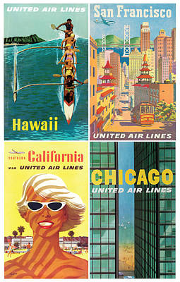 Vintage Travel - United Airlines Poster by Georgia Fowler