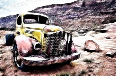 Vintage Truck Poster by Delphimages Photo Creations