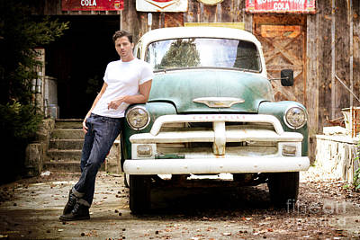 Vintage Truck And Handsome Man Poster by Jt PhotoDesign