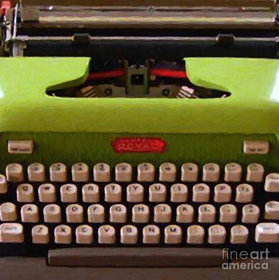 Vintage Typewriter - Painterly - Square Poster