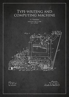 Vintage Typewriter Patent From 1918 Poster