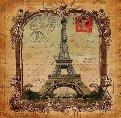 Vintage Victorian Frame Paris Eiffel Tower Postage Art Poster