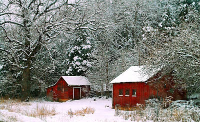 Vintage Winter Barn  Poster