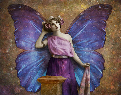 Vintage Woman With Butterfly Wings Poster by Cat Whipple