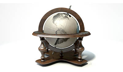 Vintage Wooden World Globe Poster by Allan Swart
