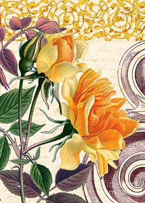 Vintage Yellow Rose Poster