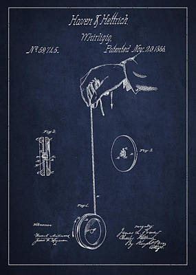 Vintage Yoyo Patent Drawing From 1866 Poster
