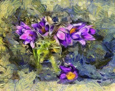 Violet Flowers In Glass Jar Poster