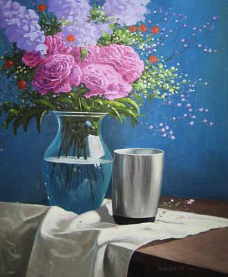 Violet Peonies In Clear Vase Poster