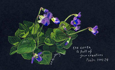 Poster featuring the painting Violets And Psalm 104 by Linda Feinberg