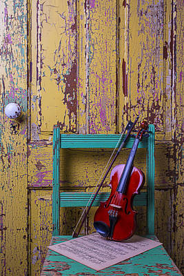 Violin On Worn Green Chair Poster by Garry Gay