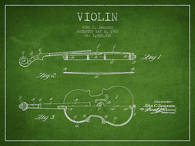 Violin Patent Drawing From 1928 Poster by Aged Pixel