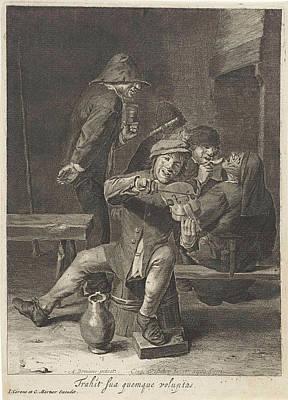 Violin Player, Hearing, Print Maker Cornelis Visscher II Poster by Cornelis Visscher Ii And Adriaen Brouwer
