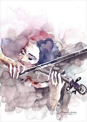 Poster featuring the painting Violin Prelude by Faruk Koksal