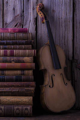 Violin With Old Books Poster by Garry Gay