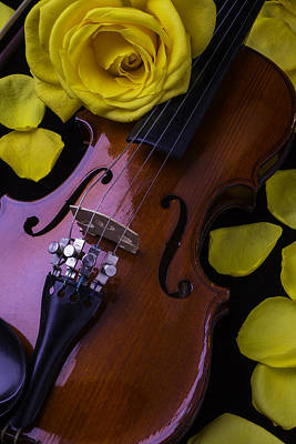 Violin With Yellow Rose Poster by Garry Gay