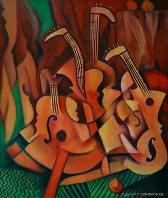 Poster featuring the painting Violins With Mandolin by Kim Gauge
