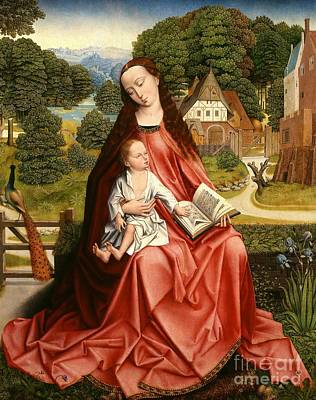 Virgin And Child In A Landscape Poster by Master of the Embroidered Foliage