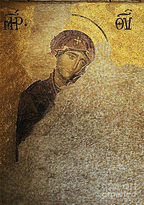 Virgin Mary-detail Of Deesis Mosaic  Hagia Sophia-day Of Judgement Poster