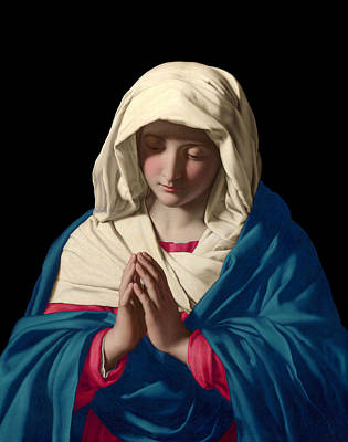 Poster featuring the digital art Virgin Mary In Prayer by Sassoferrato