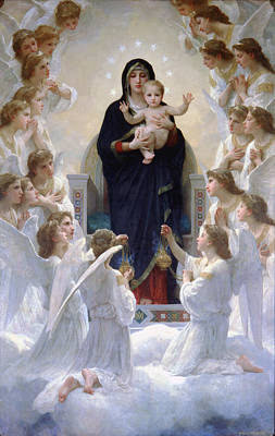 Poster featuring the digital art Virgin Mary With Angels by Bouguereau