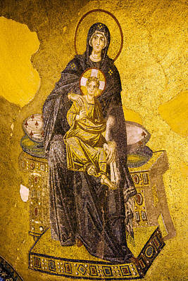Virgin Mary With Baby Jesus Mosaic Poster