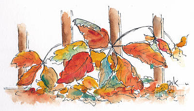 Virginia Creeper Welcomes Fall Poster by Pat Katz