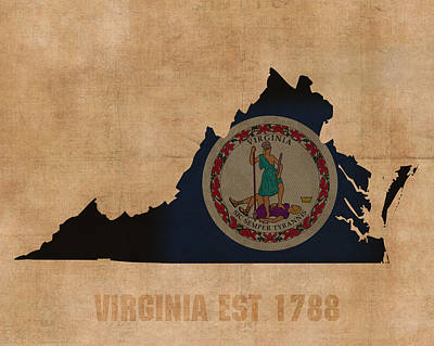 Virginia State Flag Map Outline With Founding Date On Worn Parchment Background Poster