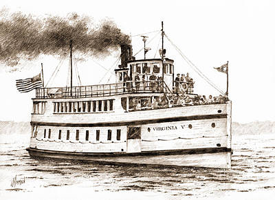 Virginia V Steamship Sepia Poster